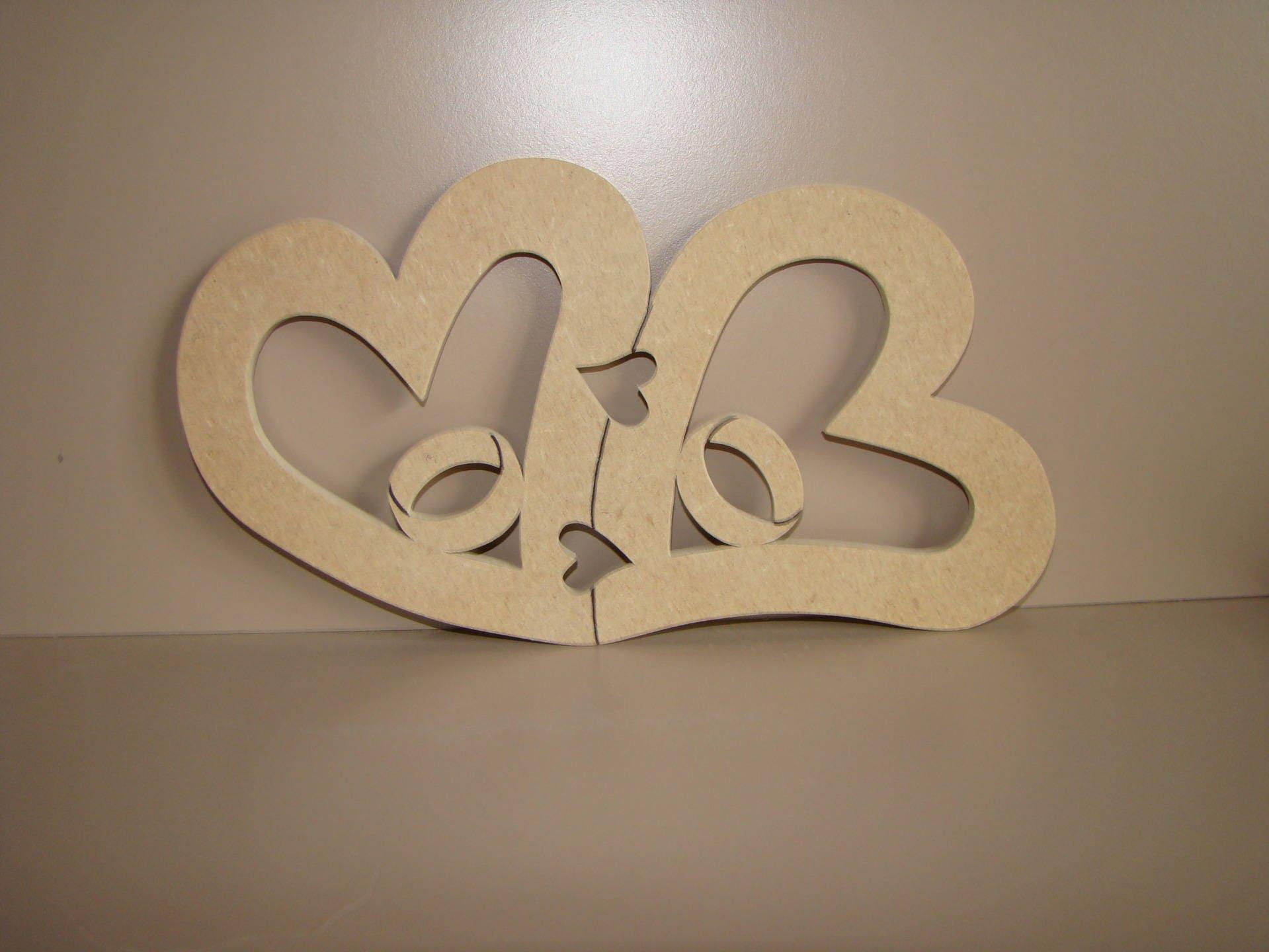 coeurs avec alliance en bois medium mdf a decorer peindre. Black Bedroom Furniture Sets. Home Design Ideas