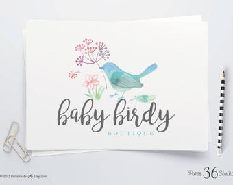 Instant Download Watercolor Floral Bird Logo DIY Logo Photoshop Logo PSD Logo Template Website Logo Blog Logo Watercolor Floral Logo Design