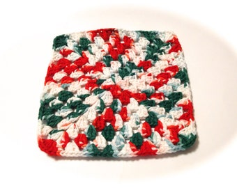 Mistletoe Crocheted Square Dish Cloth