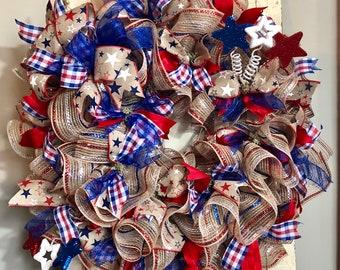 Patriotic wreath for front door, deco mesh, summer wreaths