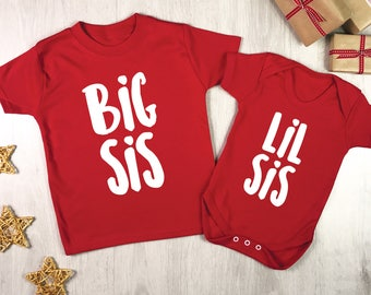 Sisters Christmas Clothes set - festive red and white Xmas sibling set - Big Sister Little Sister - Big Sis Lil Sis christmas sibling set