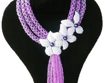 Purple and white sandbead necklace, Handmade African Jewellery, Wedding gift
