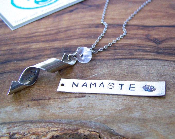 Secret Message Necklace. Namaste. Choose your finish.