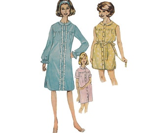 1960s Easy to Sew Night Shirt in 2 Lengths Advance 3284 Size 14 Bust 34 Long or Short Sleeves or Sleeveless