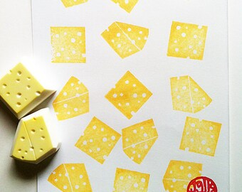 swiss cheese rubber stamp set | food stamp | cooking | card making | diy packaging gift wrapping | hand carved by talktothesun | set of 2