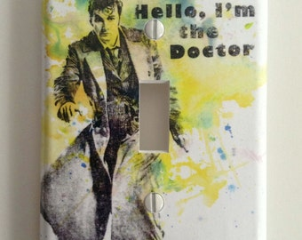 Doctor Who David Tennant As the 10th Doctor Who Gift Doctor Who Decorative Light Switch Plate Cover Light Switch Plate Doctor Who Decor