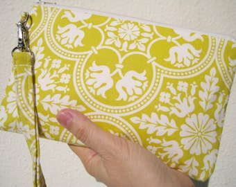 Wedding Clutch wristlet, 2 pockets gift pouch,medium,yellow, bridesmaid clutch, gift for her- Historic tile in citron