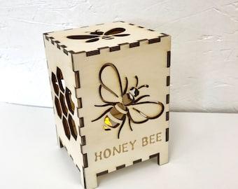 Honey Bee Tea Light Laser Cut Baltic Birch Box
