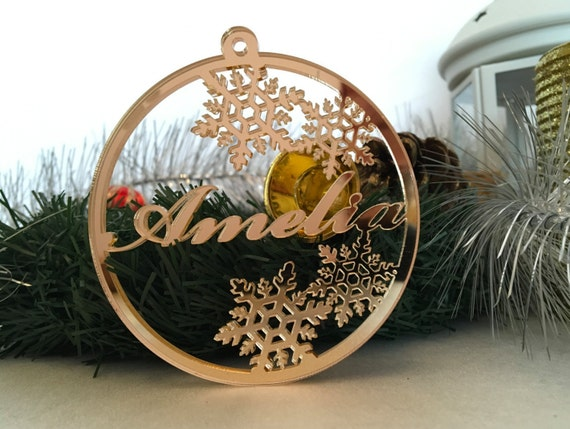 Personalised Christmas Name Bauble Tree decorations Gold Mirror Personalised Tag Laser cut ornament Xmas name ornament Custom Christmas gift