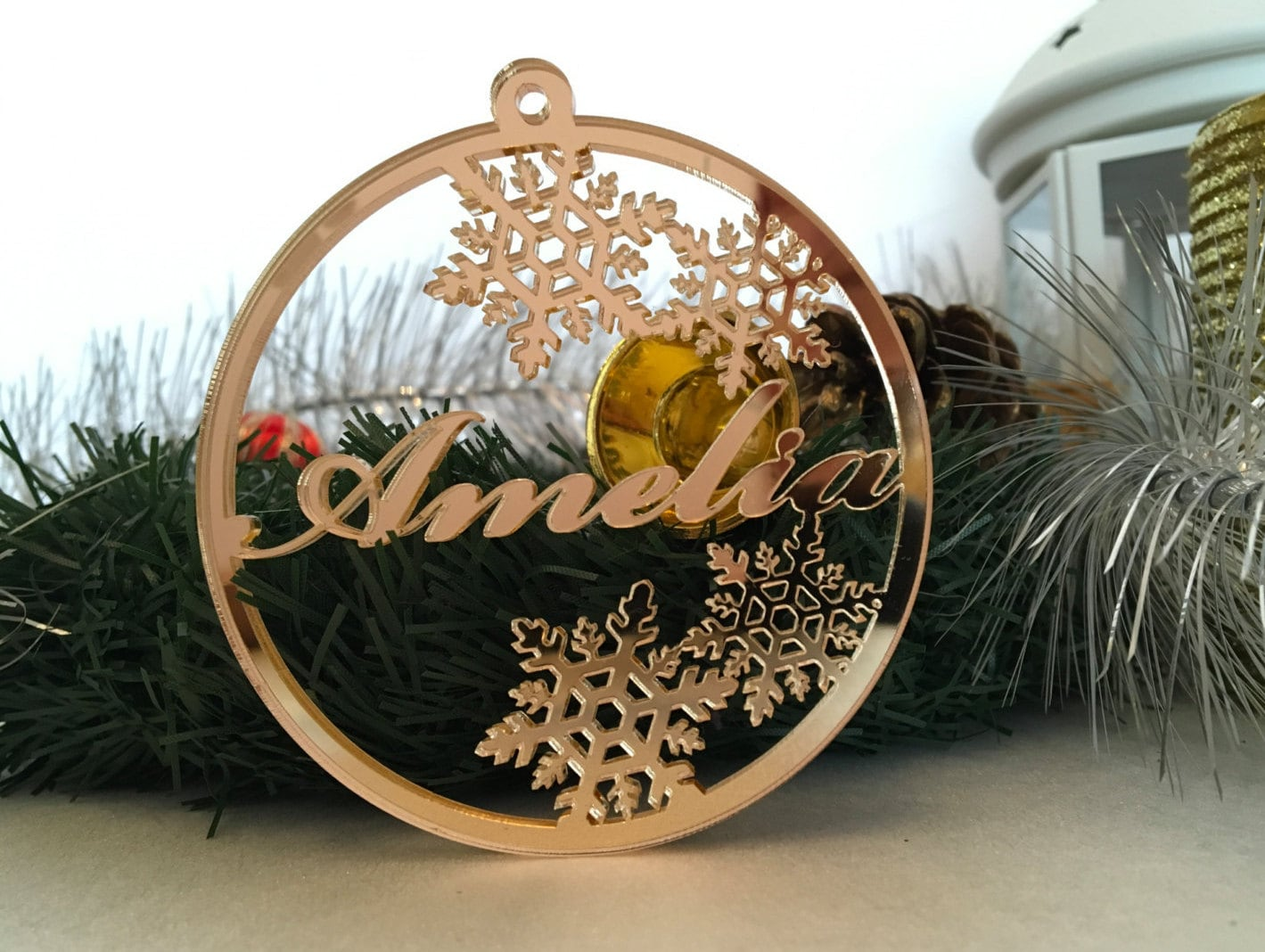 Personalised Christmas Name Bauble Tree Decorations Gold Mirror Tag Laser Cut Ornament Xmas Custom Gift