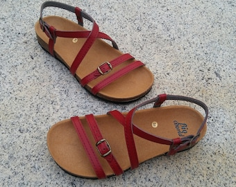 Free Shipping, Leather Sandals, Summer Shoes, Flat Sandals, Straps Sandals, green SANDALS,  womens sandals, JARDIN RED