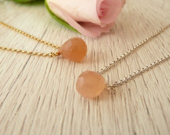 Peach Moonstone Necklace, Sterling Silver Necklace, Tiny Moonstone Necklace, Wire Wrapped Necklace, 925 Silver Jewelry