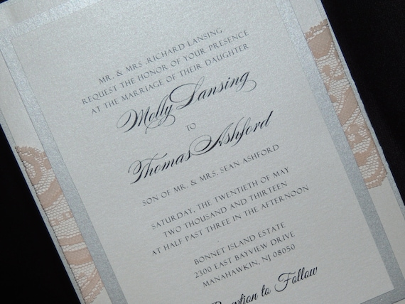 Lace Wedding Invitation - 4 layer