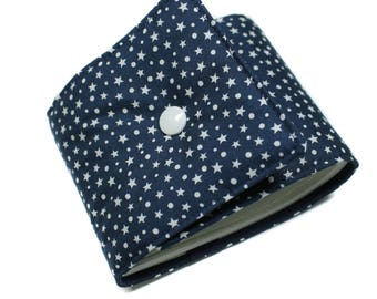 Checkbook holder in Navy and white fabric length