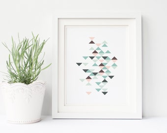 Nursery Wall Art, geometric print, home decor, tribal art, modern nursery, baby shower gift, playroom wall art, modern playroom, 8x10 art