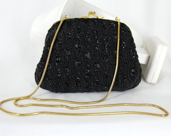 Vintage Black Beaded Purse Lord and Taylor