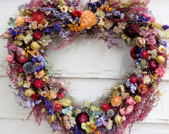 Romantic Heart Wreath, Dried Floral Wreath, Year Round Wreath, Door Wreath,Spring Wreath,Mother's Day Wreath