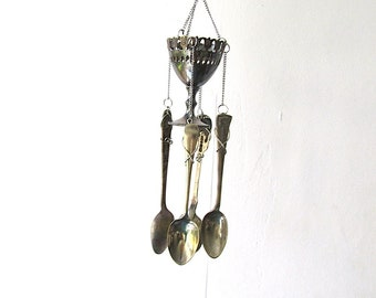 Coffee Makes The World Go Round, Egg Cup and Spoon Wind Chime, Upcycled Cutlery, Handstamped  Windchime, Hand Stamped Coffee Spoons