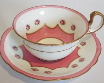 Vintage Pink Teacup and Saucer. 1920s Aynsley Pink and White Tea Cup, Hand Painted With Pink Roses. Ideal for A Tea Party Or Baby Shower