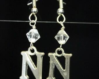 Personalized Initial Earrings Letter N