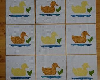 Duck Quilt Blocks  9 - 8 inch appliqued, blanket stitched, baby quilt blocks, unfinshed,