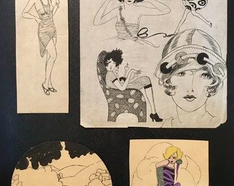 Edith Leach 4 PIECE FLAPPER PORTFOLIO Miss Fisher's Original Vintage Art Deco Jazz Age 20s pinup Fashion Illustration collection Vanguard