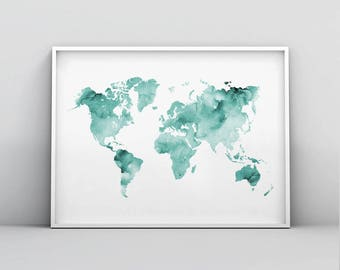 World map print etsy teal world map poster mint green map print teal map printable abstract world gumiabroncs Gallery