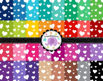 Crazy Heart Digital Paper Pack, Hearts Digital Paper Pack, Hearts Digital Scrapbook Paper, Instant Download, Commercial Use
