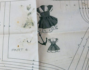 Vintage mail order pattern to make a little girls' middy or sailor dress Unused Sizes 2, 4, 6, 8 and 10