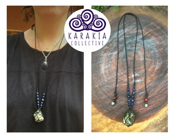 Raw Prehnite & Epidote Macrame Necklace with Lapis Lazuli and Goldstone. Made by Sophy.