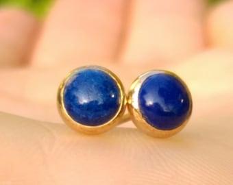 lapis gold studs, lapis earrings, royal blue studs, gold fill blue studs, blue gem studs, Gold Stud Earrings, September Birthstone