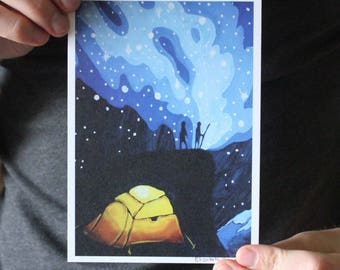Camping in the Mountains; Fine Art Print