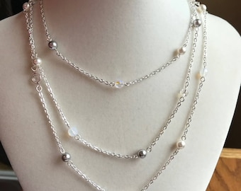 Crystal AB, White & Gray Pearl Swarovski Station Necklace, Sterling Silver Filled, Full 48 inch length, Beautiful, Neutral Gift for Her