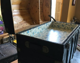 Antique 1800s Large Dome-Top Steamer Trunk with brass metal accents and Oak Binding w/ Original Insert and Designs