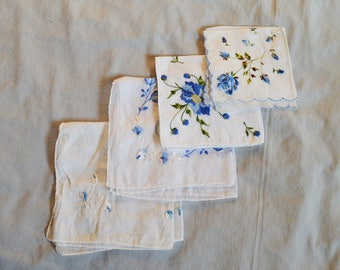 Vintage Ladies' Handkerchiefs - Lot of 4, White Cotton with Blue Embroidered Flowers
