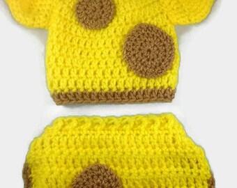 Giraffe Hat and Diaper Cover  - Crochet Giraffe Set - Giraffe Photo Prop - Baby Giraffe Outfit - Baby Photo Prop