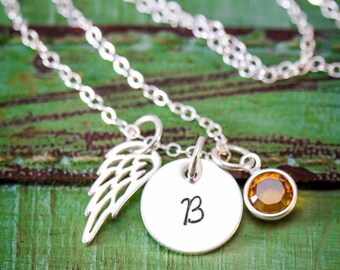 Angel Wing Necklace Memorial Gift Loss Necklace • Miscarriage Gift Stillborn Loved One Loss Jewelry • Sterling Silver Angel Baby