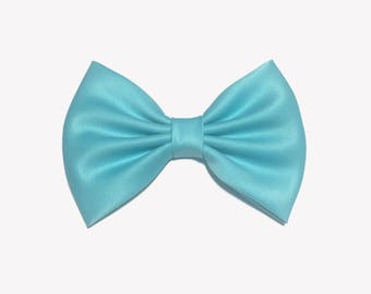 Blue Bow For Girls, Satin Hair Bow, Bows For Girls, Blue Wedding Bow, Light Blue Bow, Wedding Bows, Hair Bows For Girls, Womens Hair Bows