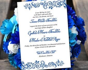 "Printable Wedding Invitation Template - Instant Download DIY Wedding Template - ""Allure"" Horizon Blue Printable Wedding Invitation Card"