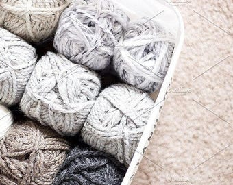 Styled Stock Photo | Basket Of Yarn | Blog stock photo, stock image, stock photography, blog photography