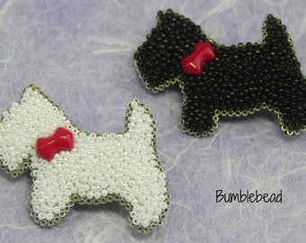 Little Scotty Dog Brooch Tutorial - A Bead Embroidery Tutorial