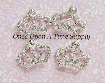 Princess Tiara Crown Rhinestone Centers - Hair Bow Making  - Metal Flat Back Flower Hairbow Buttons  - Sparkling Craft Embellishment Supply