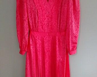 Vintage 1980s Argenti Silk Dress/Vibrant Coral