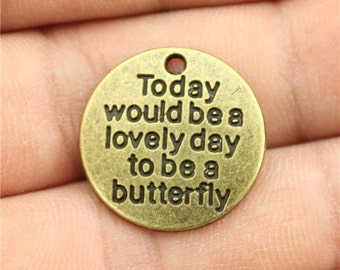 6 Be A Butterfly Word Charms, Antique Bronze Tone (1D-35)