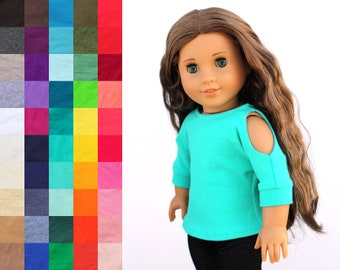 Fits like American Girl Doll Clothes - Open Shoulder Top, You Choose Color   18 Inch Doll Clothes