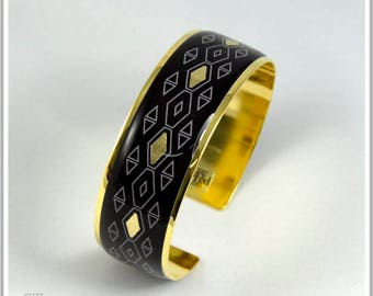 2 cm gold plated 24 k Pamela Carla black Cuff Bracelet