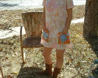 A Line Mini Dress Big Pockets Repurposed Fabrics Vintage Recycled Materials Boho Chic
