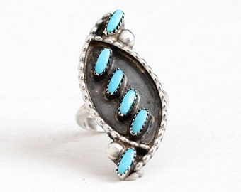 Sale - Vintage Turquoise Ring - Sterling Silver Size 4 1/4 Retro 1960s Southwestern - Native American Boho Style Petit Point Navette Jewelry