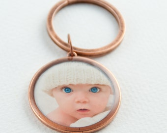 Photo Keychain  | Personalized Keychain | Custom Photo Keyring | Gifts for Him | Gifts for Her | Gift for Parent | Copper Key Ring