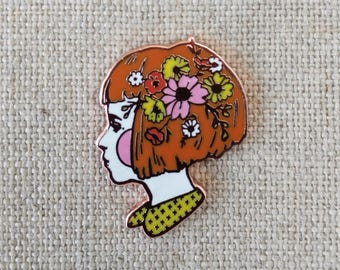 "Wild Flowers in her Hair // Cloisonne Hard Enamel Rose Gold / Copper Lapel pin 1"" // Girl Enamel Pin"